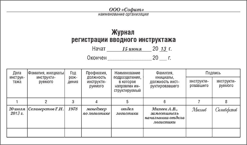 Образец журнала регистрации вводного инструктажа