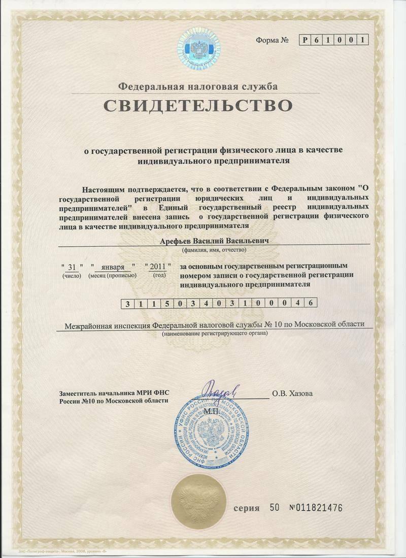 Образец свидетельства о регистрации ИП.
