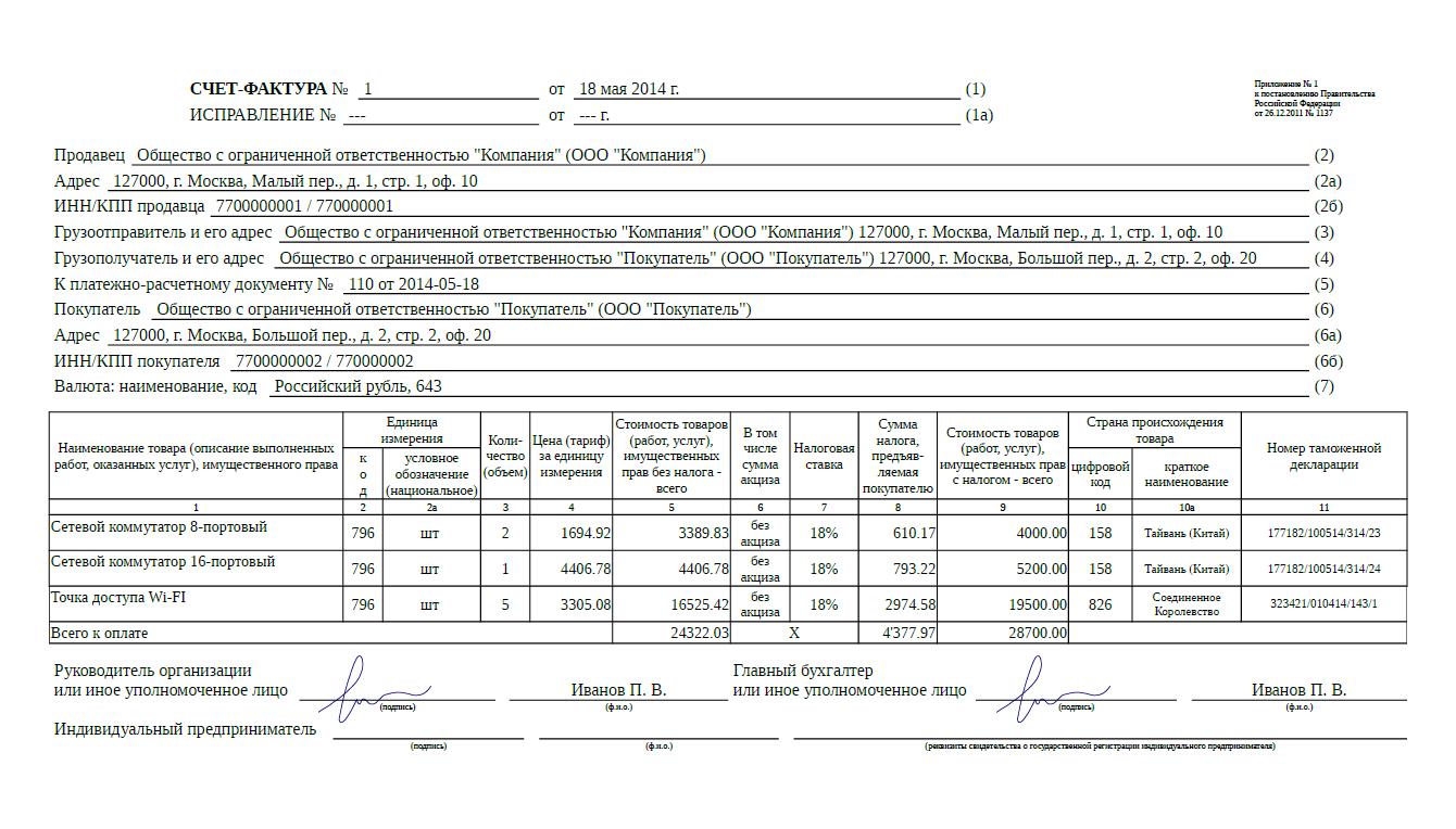 Пример счет-фактуры для ИП.