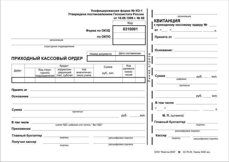 Первичная бухгалтерская документация перечень