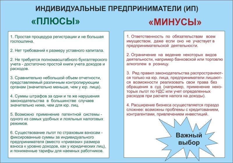 Таблица: Основные плюсы и минусы ИП.