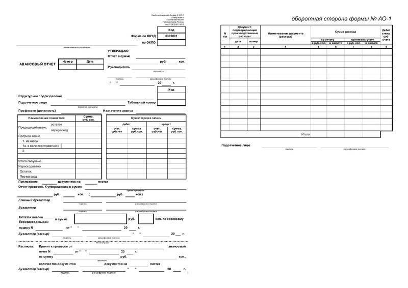 Образец первичной бухгалтерской документации -