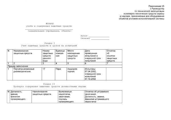 Журнал учета и содержания средств индивидуальной защиты образец заполнения