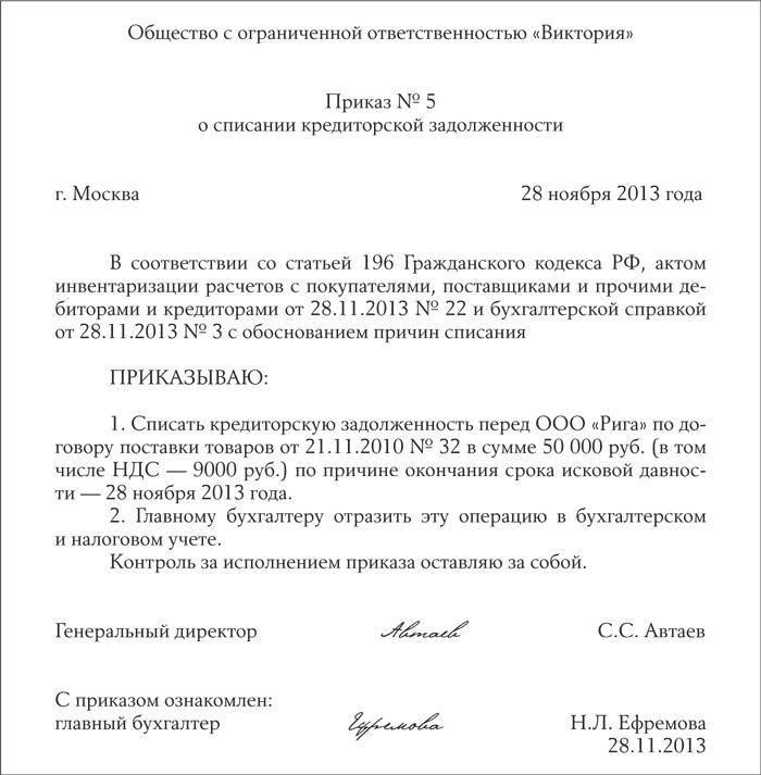 Приказ о списании кредиторской задолженности.
