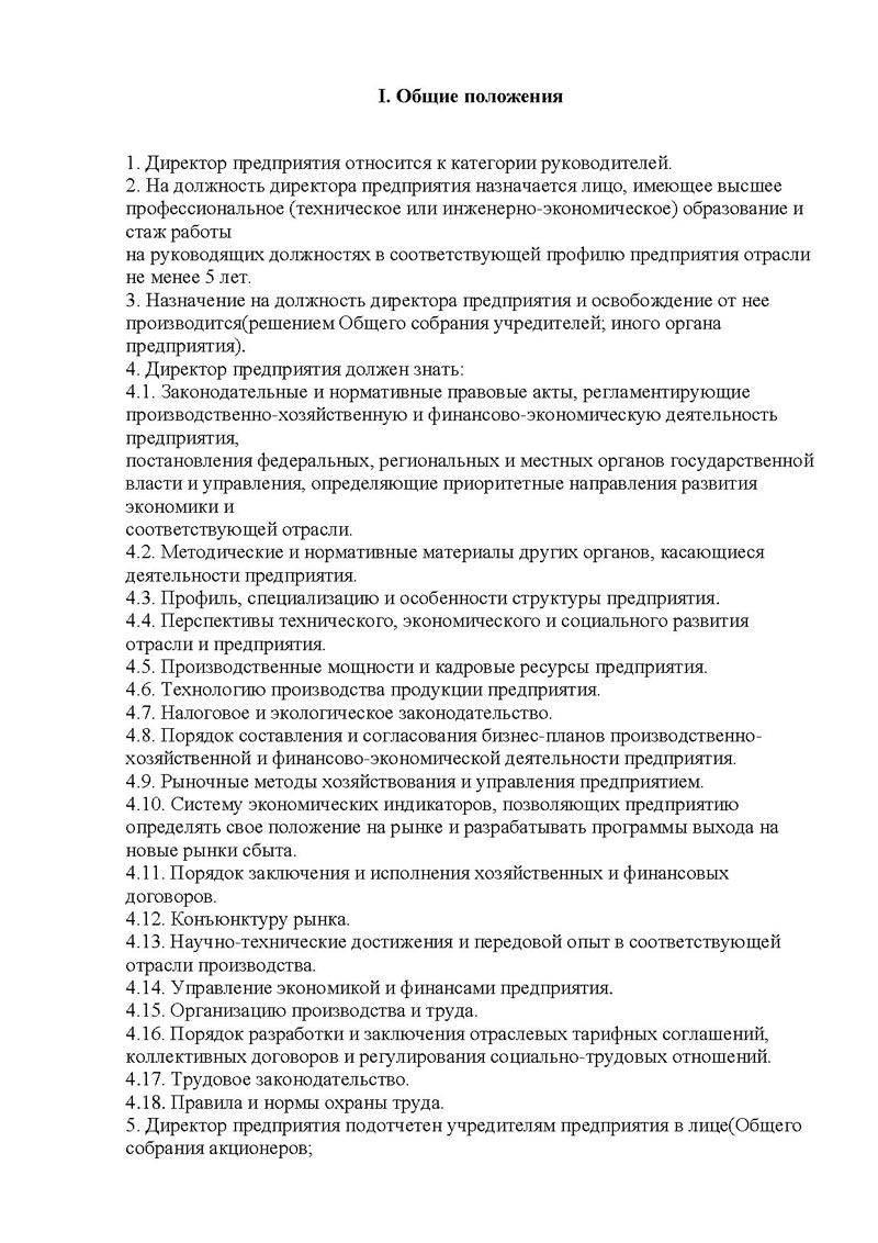 образец должностной инструкции зам генерального директора ооо