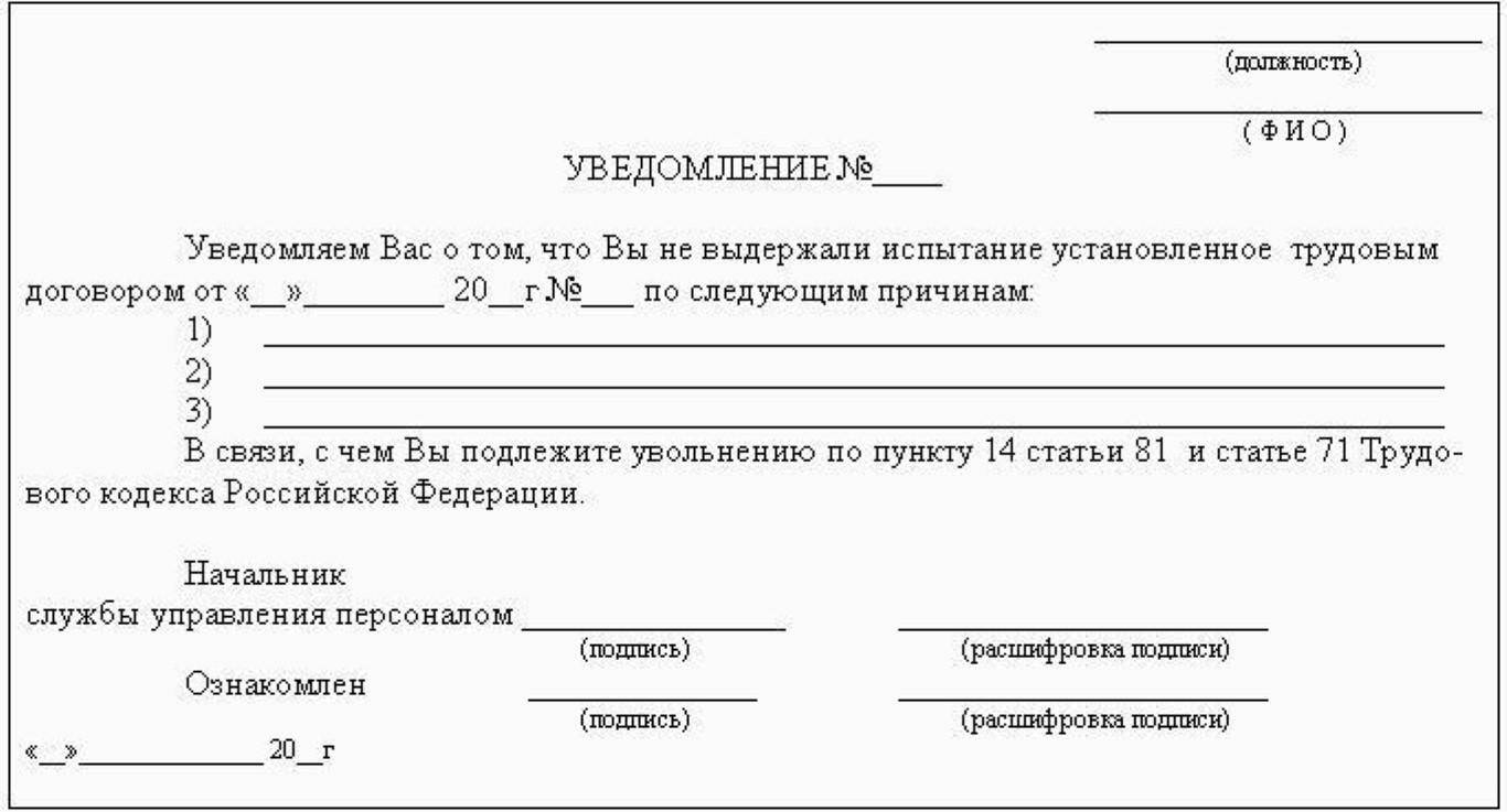 Уведомление о расторжении трудового договора.